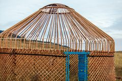 White Yurt - Nomad`s tent is the national dwelling of Kazakhstan people Stock Photo