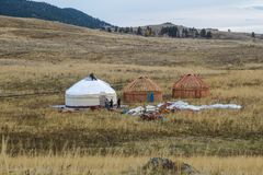 White Yurt - Nomad`s tent is the national dwelling of Kazakhstan people. Wedding, Kazakh tradition, wedding gift, white yurt, yurt wedding, invitations for Stock Photos