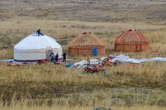 White Yurt - Nomad`s tent is the national dwelling of Kazakhstan people. Wedding, Kazakh tradition, wedding gift, white yurt, yurt wedding, invitations for Stock Image