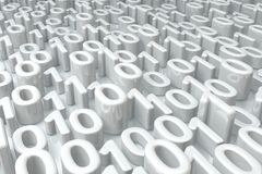 White Zero One. Numbers abstract surface, 3d illustration, horizontal Stock Photo