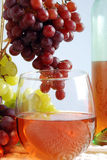 White Zinfandel wine. Glass of white zinfandel wine with bottle and red & green grapes in frame Royalty Free Stock Photos