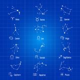 White zodiac signs horoscope symbols astrology icons zodiacal constellations vector set. Illustration. Scorpio and libra, aquarius and pisces, taurus and virgo stock illustration