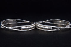 WhiteAngle silver Bangles Stock Images
