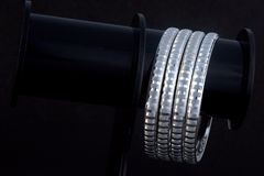 WhiteAngle silver Bangles Stock Image
