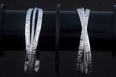 WhiteAngle silver Bangles Stock Photography