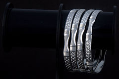 WhiteAngle silver Bangles Stock Photos