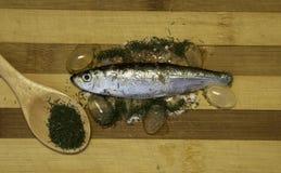 Whitebait готовые для жарить в духовке на деревянном подносе Стоковое Изображение RF