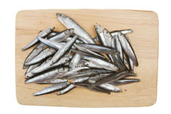 Whitebait on a board Royalty Free Stock Photography