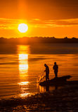 Whitebait Fishing Sunset Stock Image
