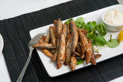 Whitebait with garlic mayonnaise Royalty Free Stock Photography