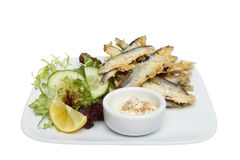 Whitebait on a plate Royalty Free Stock Images