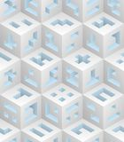 Whiteblue cubes isometric seamless pattern. White blue cubes isometric seamless pattern. Vector tileable background. Blockchain technology concept stock illustration