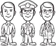 Whiteboard图画-三位动画片专家商人波尔布特 向量例证
