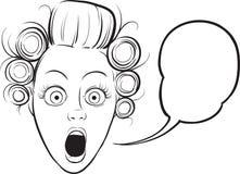 Whiteboard图画-惊奇的妇女面孔 库存图片