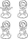 Whiteboard图画- cartoon_woman_on_a_cloud_with_laptop 库存照片