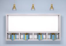 Whiteboard с подарками над голубой стеной бесплатная иллюстрация