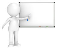 Whiteboard. 3D little human character with a Blank Whiteboard.  Business People series Royalty Free Stock Photography