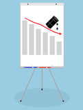 Whiteboard banner with graphic chart oil down Stock Photos