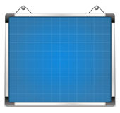 Whiteboard with blueprint Royalty Free Stock Image