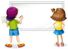 Whiteboard with boy and girl writing Stock Image