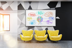 Whiteboard with brain sketch. Office room with whiteboard and colorful brain sketch on it. Concept of startup. 3d rendering. Toned image Stock Images