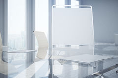 Whiteboard in conference room closeup. Close up of blank whiteboard stand in modern conference room interior with city view. Mock up, 3D Rendering Royalty Free Stock Photos