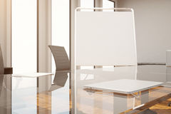 Whiteboard in conference room closeup. Close up of blank whiteboard stand in modern conference room interior with daylight. Mock up, 3D Rendering Stock Photo