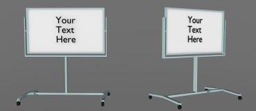 Whiteboard derecho a partir de dos ángulos con el ` su del texto ` aquí escrito en él, fácil corregir 3D rendido, aislado en fond ilustración del vector