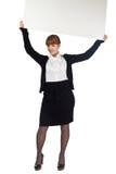 Whiteboard do espaço em branco da preensão da menina aéreo fotos de stock