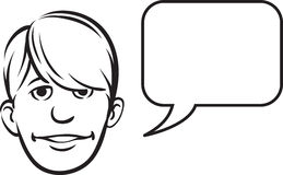 Whiteboard drawing - bangs face with speech bubble Royalty Free Stock Photo