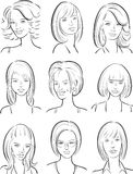 Whiteboard drawing - beautiful women faces collection Stock Image