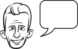 Whiteboard drawing - big eared face with speech bubble Stock Images