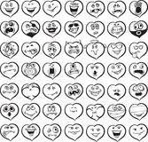 Whiteboard drawing - big set of smiling hearts vector illustration