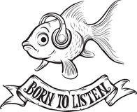 Whiteboard drawing - born to listen goldfish Royalty Free Stock Photo