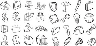 Whiteboard drawing - business and finance icons collection Stock Photos