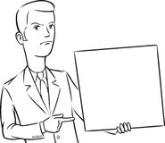Whiteboard drawing - businessman angry pointing at blank placard Royalty Free Stock Photo