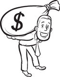 Whiteboard drawing - businessman carrying big moneybag Royalty Free Stock Images