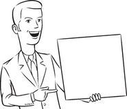 Whiteboard drawing - businessman pointing at blank placard Stock Photo