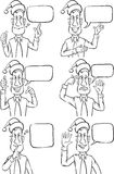 Whiteboard drawing - businessman with sign language in Santa hat Stock Images