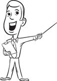 Whiteboard drawing - businessman standing pointing Royalty Free Stock Photography
