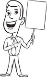 Whiteboard drawing - businessman standing pointing at blank plac Royalty Free Stock Photo