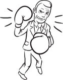 Whiteboard drawing - caricature agressive businessman in boxing. Black and white isolated line vector illustration for coloring page or whiteboard presentation Stock Photos