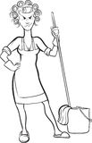 Whiteboard drawing - cartoon angry housewife Stock Photography