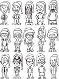 Whiteboard drawing - cartoon avatar santa people Royalty Free Stock Photography