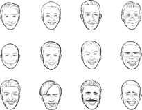 Whiteboard drawing - cartoon avatar smiling men heads vector illustration