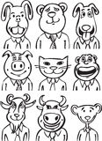 Whiteboard drawing - cartoon business animals Royalty Free Stock Photos
