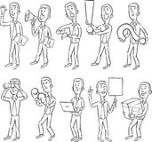 Whiteboard drawing - cartoon business figures Royalty Free Stock Images