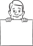 Whiteboard drawing - cartoon businessman with blank placard Royalty Free Stock Photography