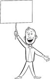 Whiteboard drawing - cartoon cheerful businessman with blank pla Royalty Free Stock Image