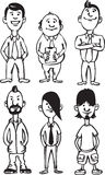 Whiteboard drawing - cartoon figures of office people and freaks vector illustration